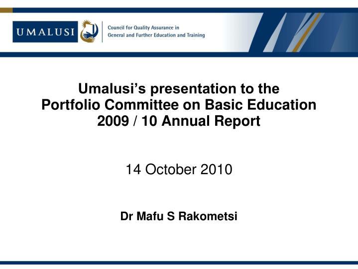 Umalusi's presentation to the