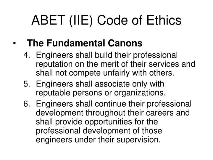 ABET (IIE) Code of Ethics