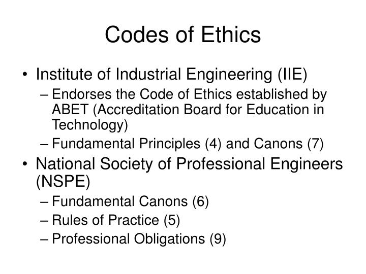 Codes of Ethics