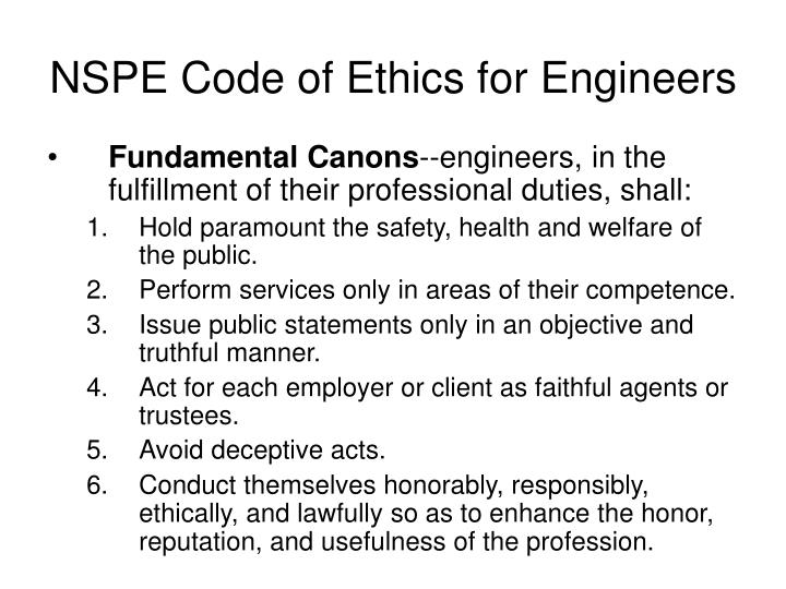 NSPE Code of Ethics for Engineers