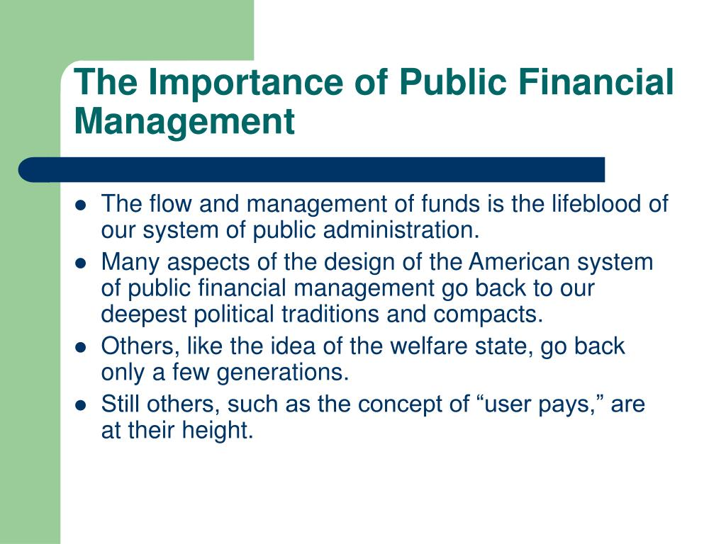 The Importance of Public Financial Management