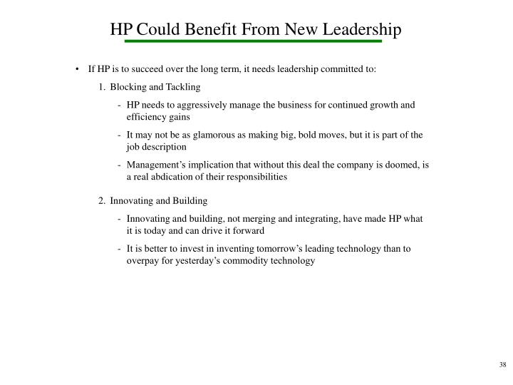 HP Could Benefit From New Leadership