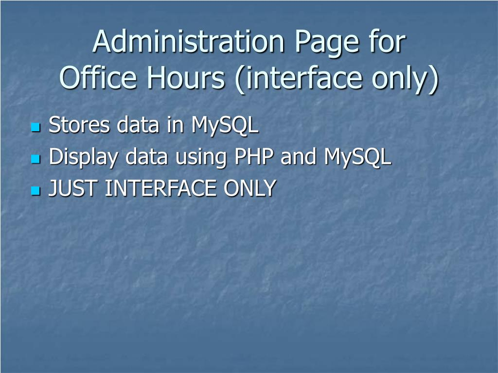 Administration Page for