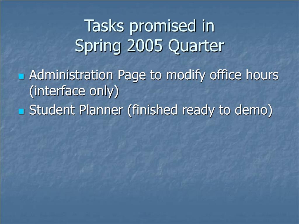 Tasks promised in