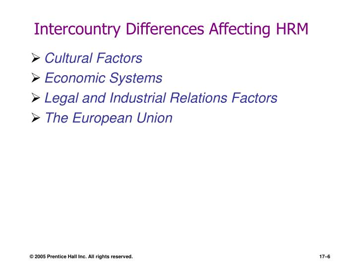 Intercountry Differences Affecting HRM