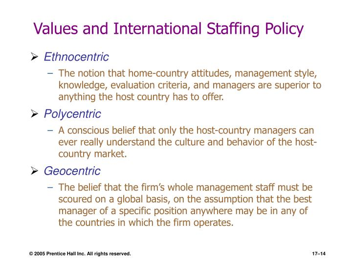 Values and International Staffing Policy
