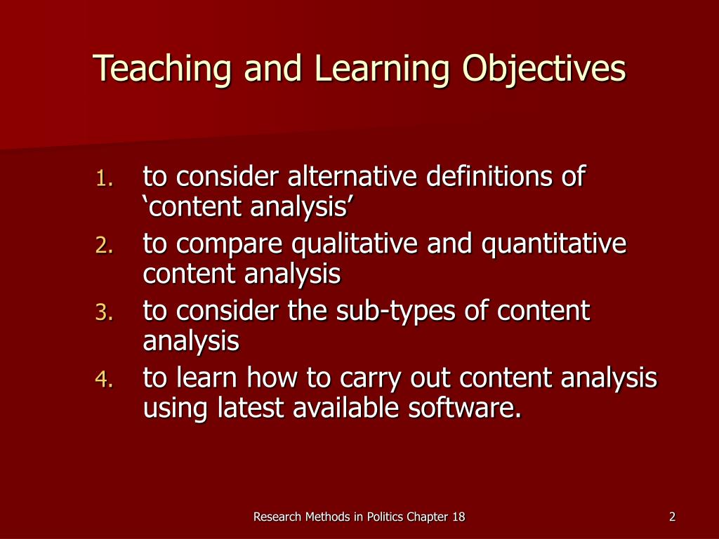 Teaching and Learning Objectives