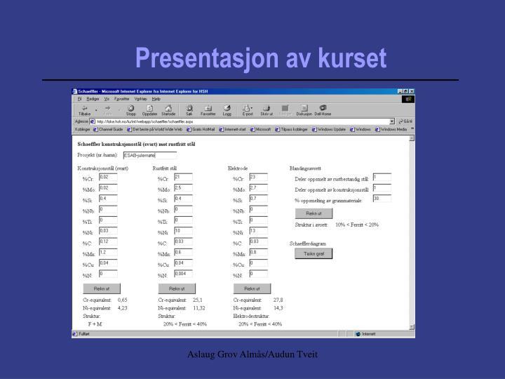 Presentasjon av kurset
