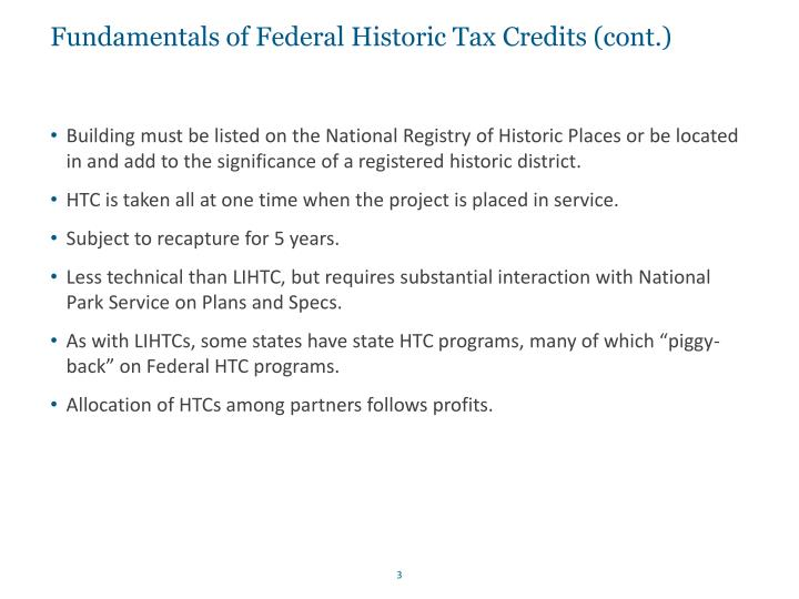 Fundamentals of federal historic tax credits cont