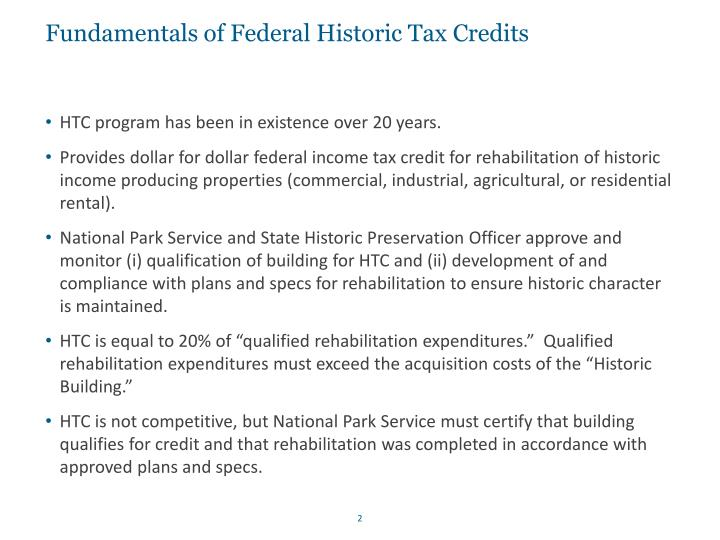Fundamentals of federal historic tax credits
