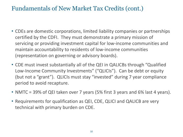 Fundamentals of New Market Tax Credits (cont.)