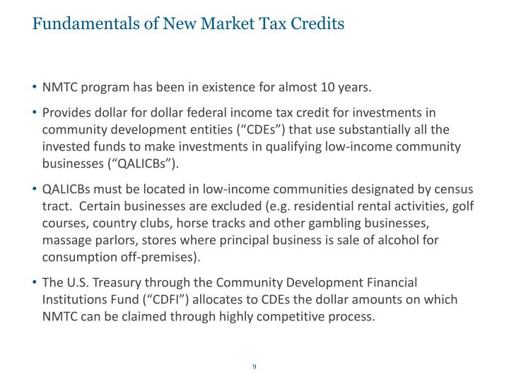 Fundamentals of New Market Tax Credits