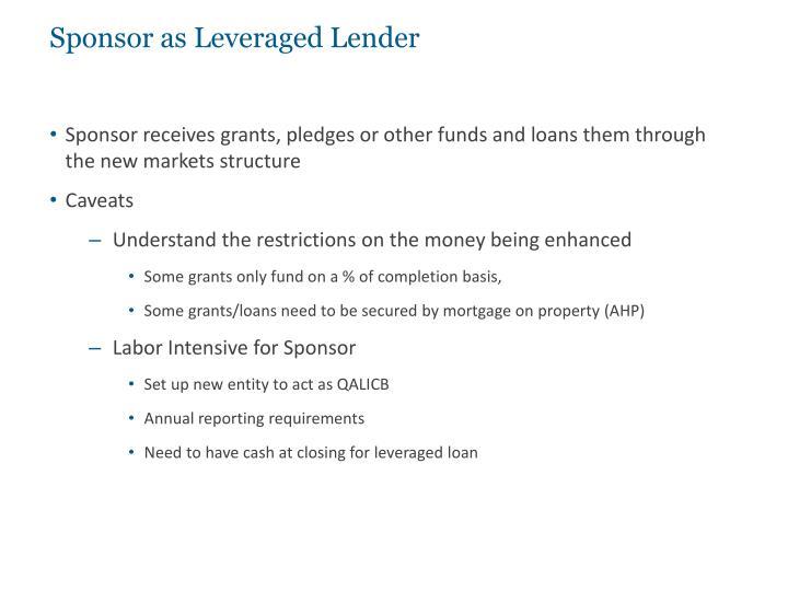 Sponsor as Leveraged Lender