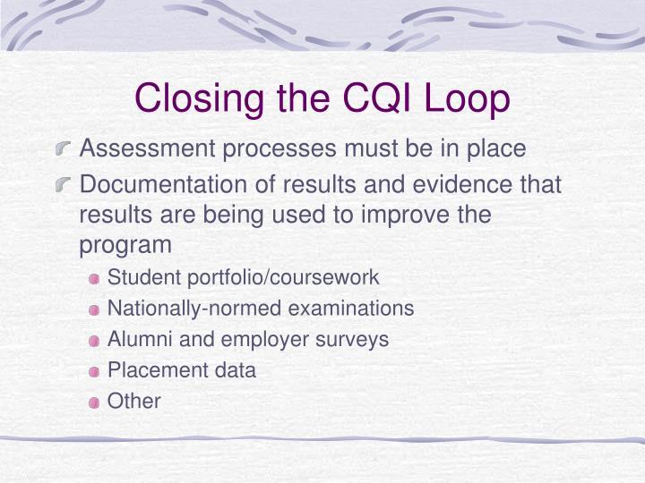 Closing the CQI Loop