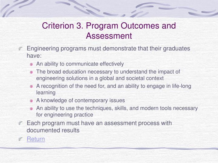 Criterion 3. Program Outcomes and Assessment