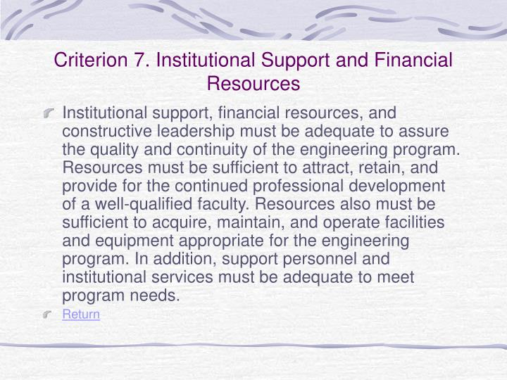 Criterion 7. Institutional Support and Financial Resources