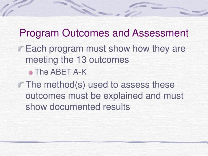 Program Outcomes and Assessment