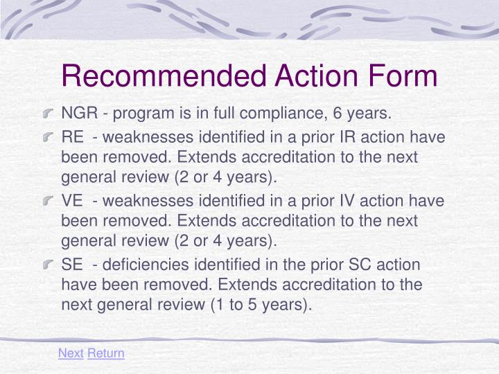 Recommended Action Form