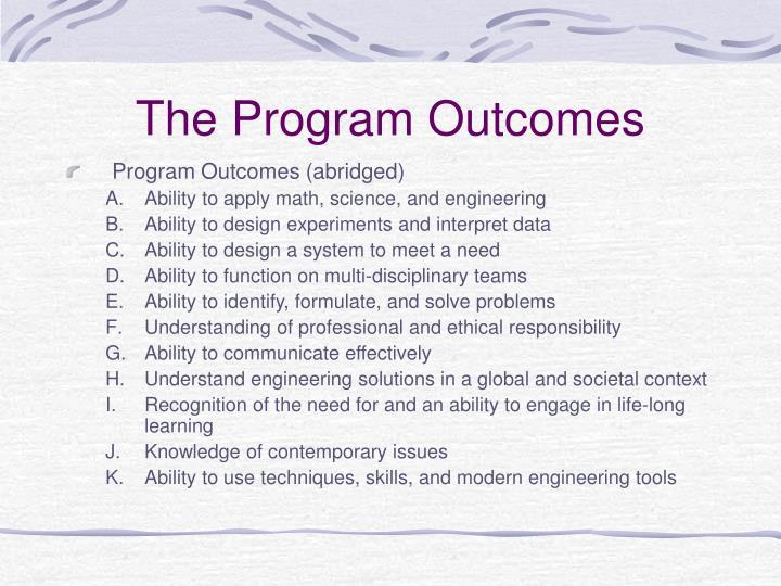 The Program Outcomes