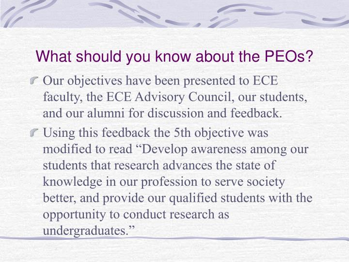 What should you know about the PEOs?