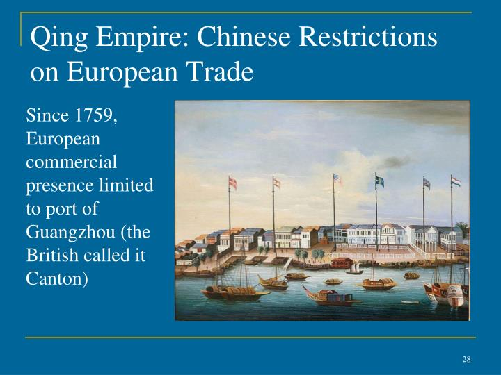 Qing Empire: Chinese Restrictions on European Trade