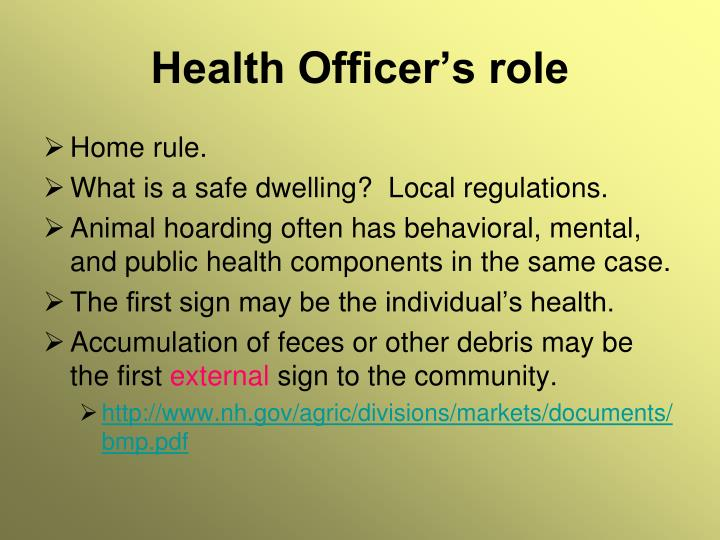 Health Officer's role