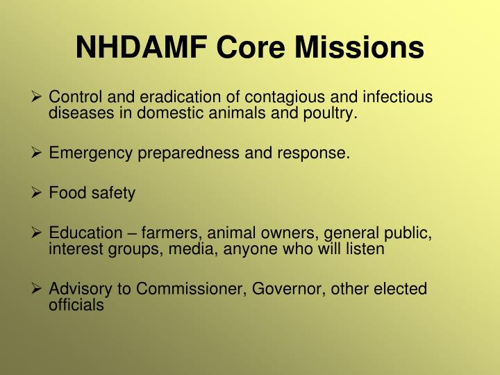 NHDAMF Core Missions