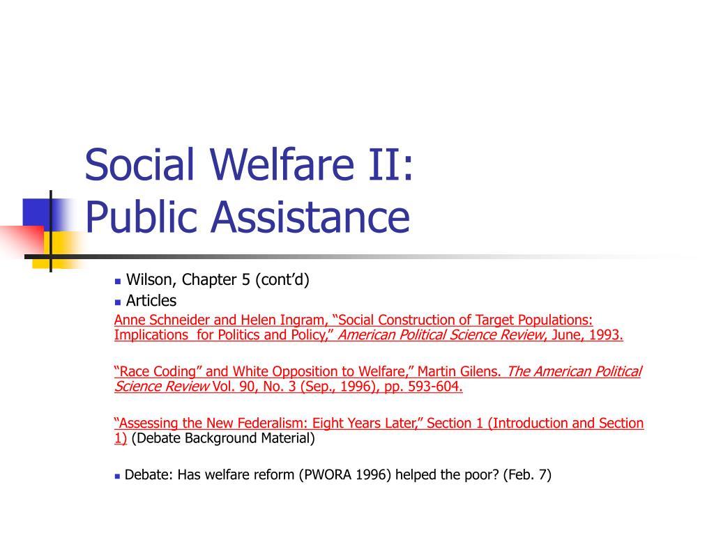 Social Welfare II: