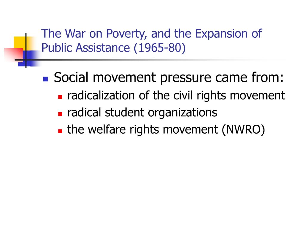 The War on Poverty, and the Expansion of Public Assistance (1965-80)
