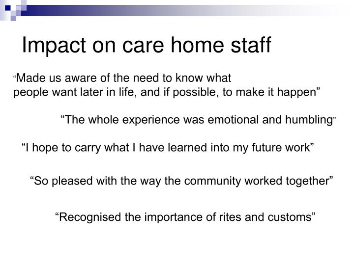 Impact on care home staff