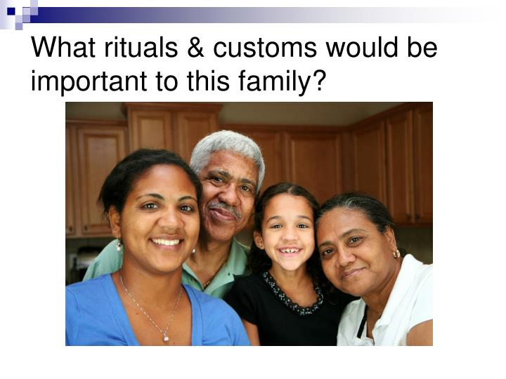 What rituals & customs would be important to this family?