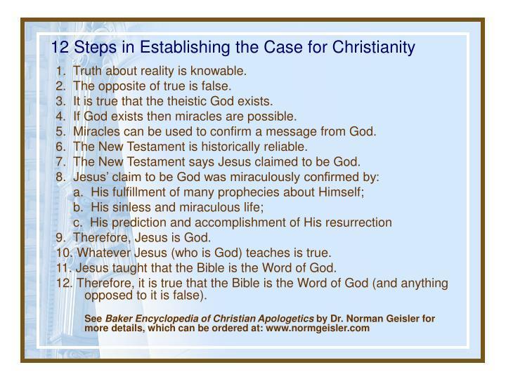 12 Steps in Establishing the Case for Christianity