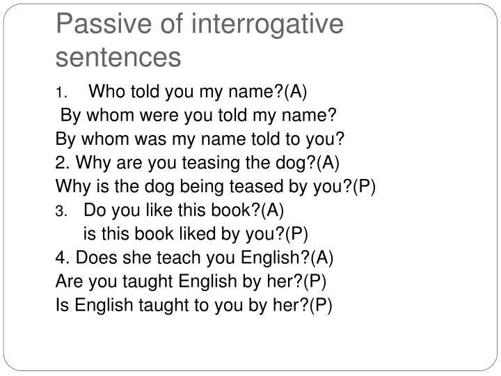 Passive of interrogative sentences