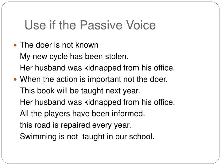 Use if the Passive Voice
