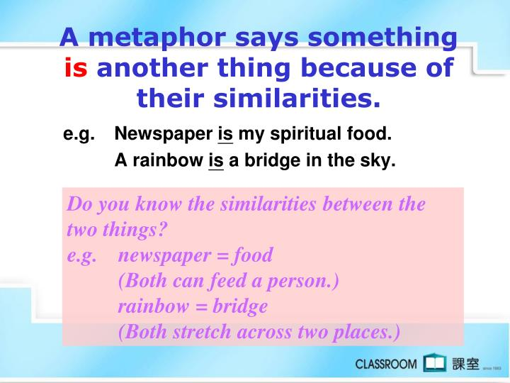 A metaphor says something