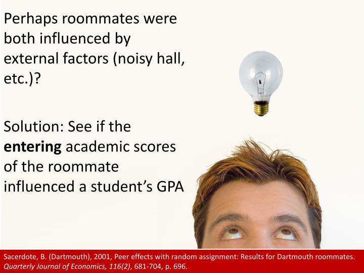 Perhaps roommates were both influenced by external factors (noisy hall, etc.)?