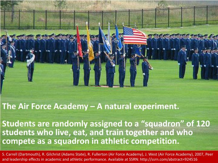 The Air Force Academy – A natural experiment.