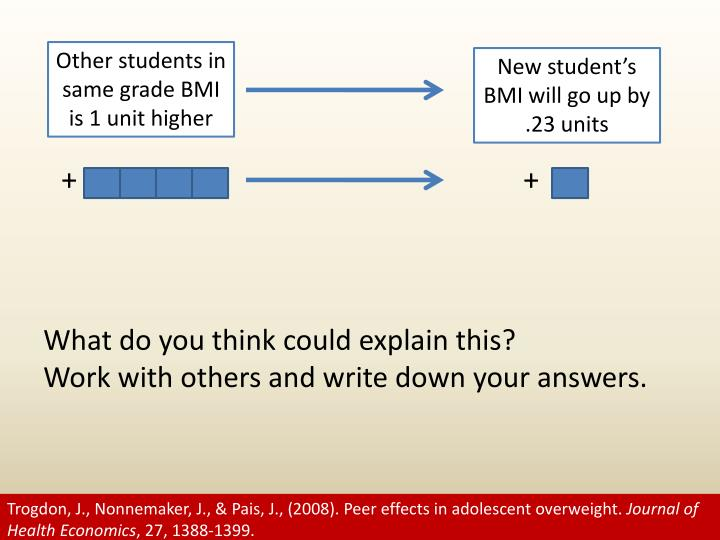 Other students in same grade BMI is 1 unit higher
