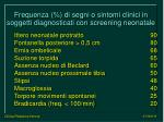 frequenza di segni o sintomi clinici in soggetti diagnosticati con screening neonatale