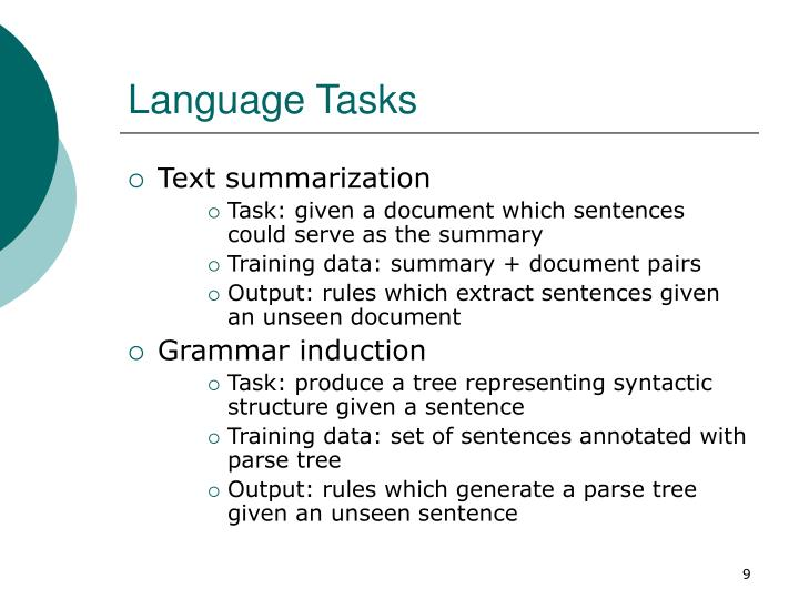 Language Tasks