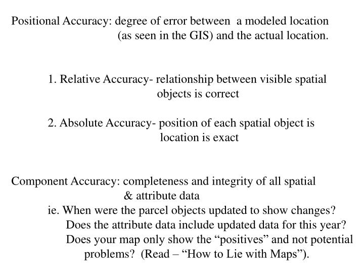 Positional Accuracy: degree of error between  a modeled location
