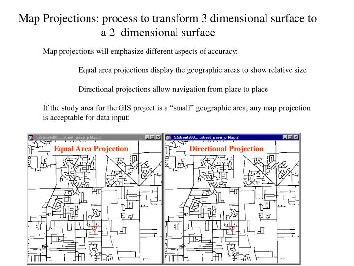 Map Projections: process to transform 3 dimensional surface to
