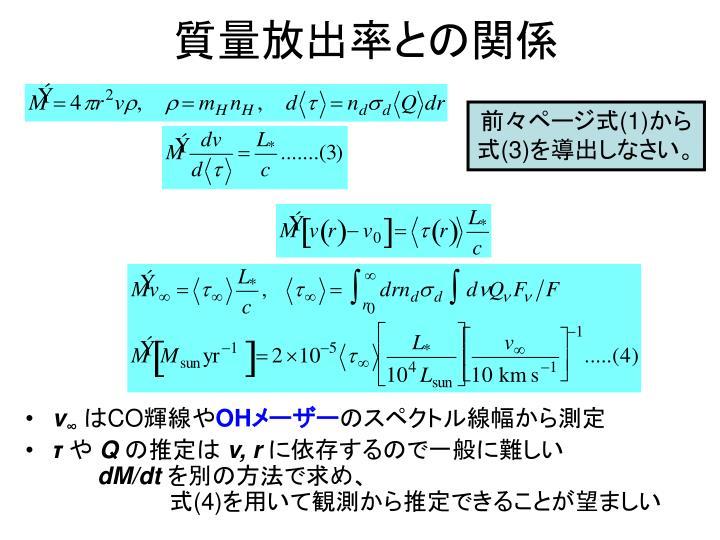 質量放出率との関係