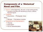 components of a historical novel and film