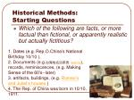 historical methods starting questions