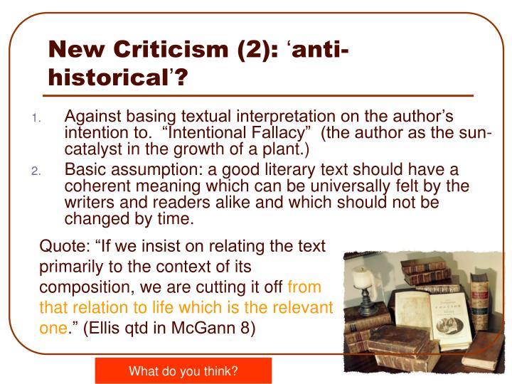 New Criticism (2):