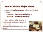 new criticism major views