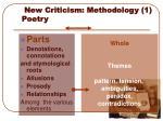 new criticism methodology 1 poetry