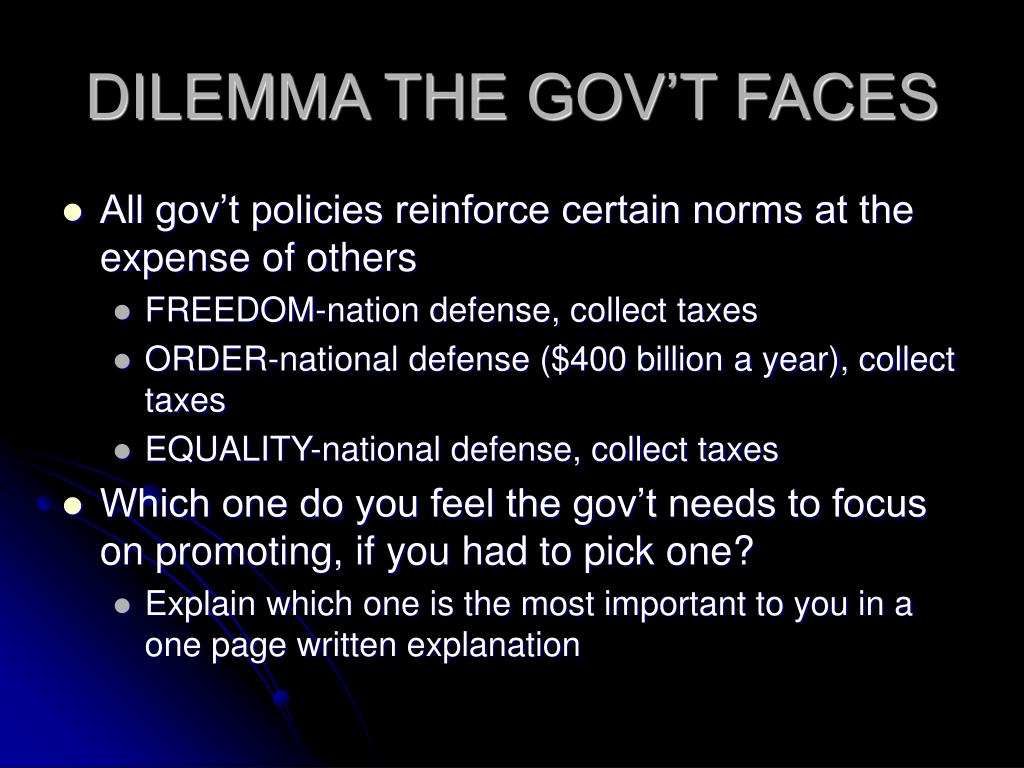 DILEMMA THE GOV'T FACES