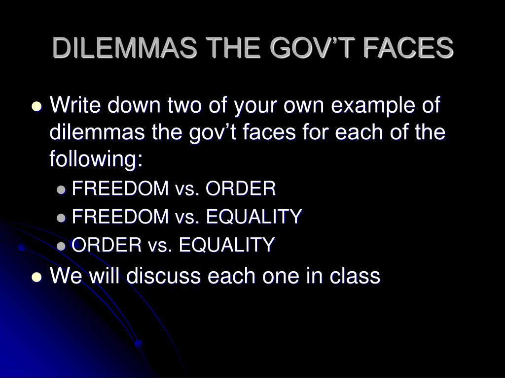 DILEMMAS THE GOV'T FACES